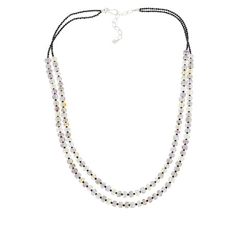 Jay King Sterling Silver Amethyst, Citrine and Black Spinel Necklace