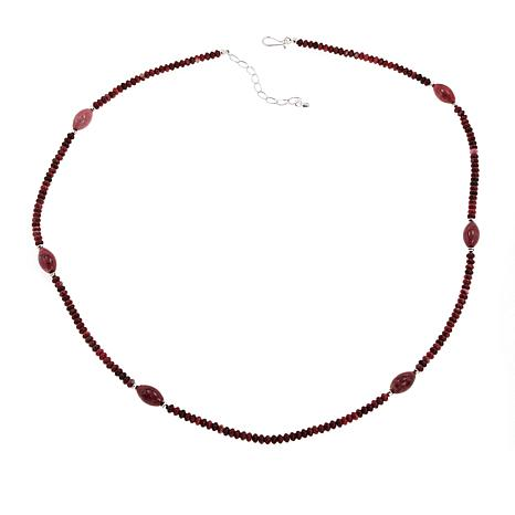 """Jay King Sterling Silver Beaded Gemstone 32"""" Necklace"""