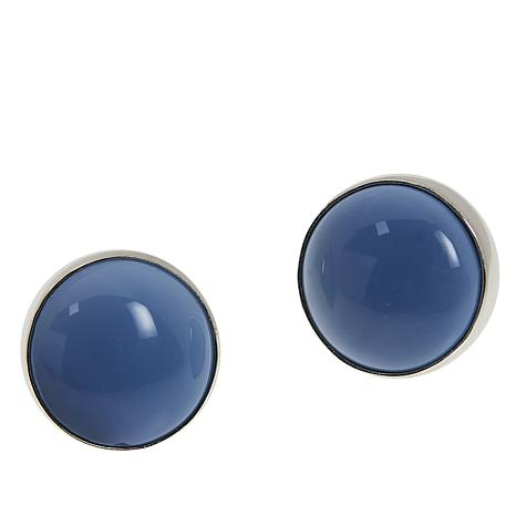 Jay King Sterling Silver Blue Opal Stud Earrings