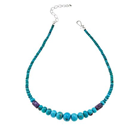 Jay King Sterling Silver Charoite and Turquoise Beaded Necklace