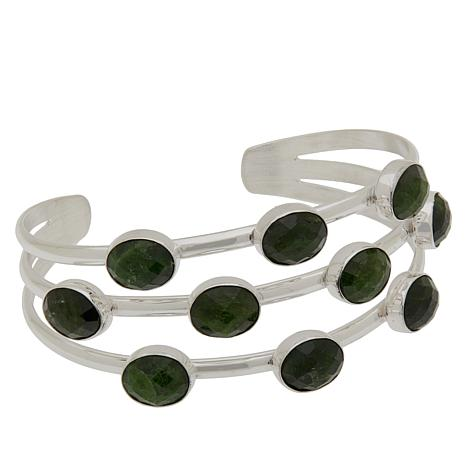 Jay King Sterling Silver Chrome Diopside Multi-Stone Cuff Bracelet