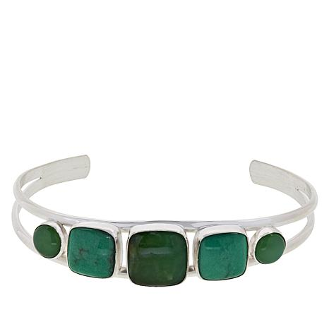 Jay King Sterling Silver Chrysoprase and Variscite Cuff Bracelet
