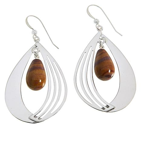 Jay King Sterling Silver Colored Gemstone Fancy Teardrop Earrings