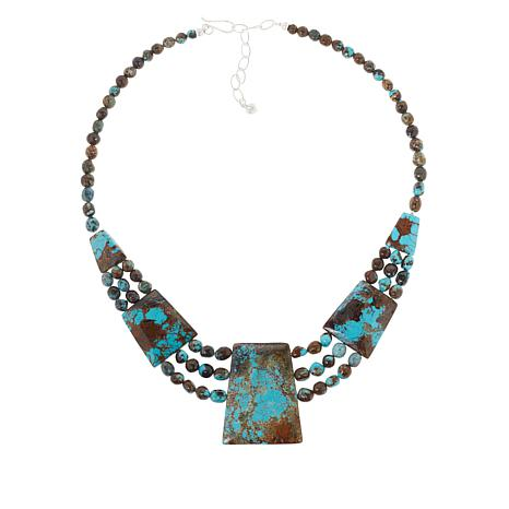 Jay King Sterling Silver Cushion-Cut Windy Mountain Turquoise Necklace