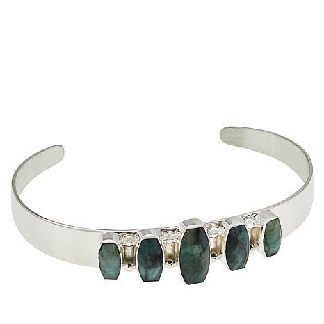 Jay King Sterling Silver Emerald Cuff Bracelet