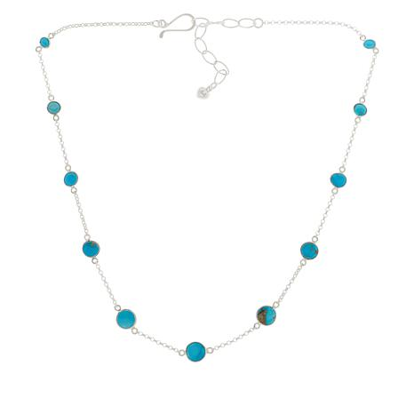 Jay King Sterling Silver Gold Matrix Turquoise Station Chain Necklace