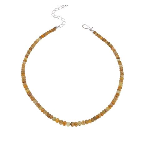 Jay King Sterling Silver Graduated Yellow Sapphire Bead Necklace