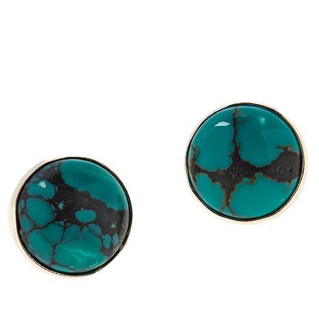 Jay King Sterling Silver Hubei Turquoise Button Earrings