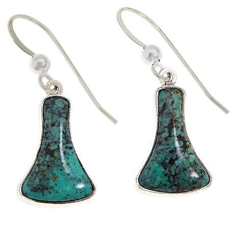 Jay King Sterling Silver Hubei Turquoise Freeform Dangle Earrings
