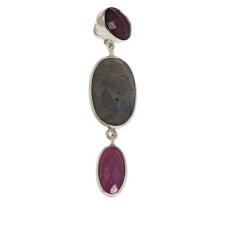 Jay King Sterling Silver Labradorite and Pink Sapphire 3-Stone Pendant