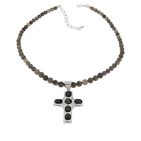 Jay King Sterling Silver Labradorite Cross Pendant with Bead Necklace