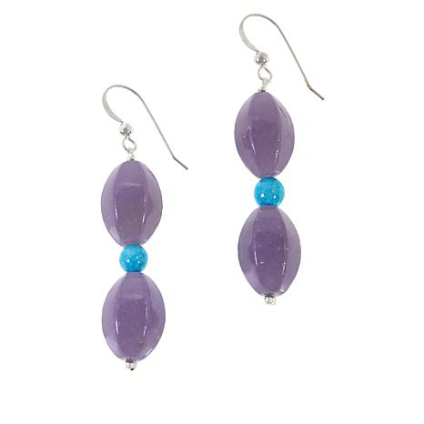 Jay King Sterling Silver Lepidolite and Turquoise Bead Drop Earrings
