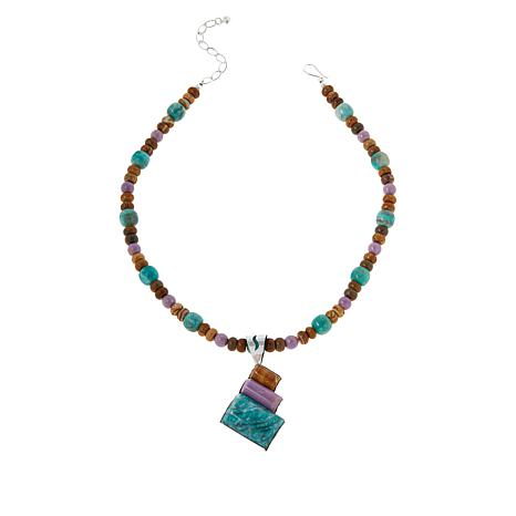 Jay King Sterling Silver Multi-Color Multi-Gem Pendant with Necklace