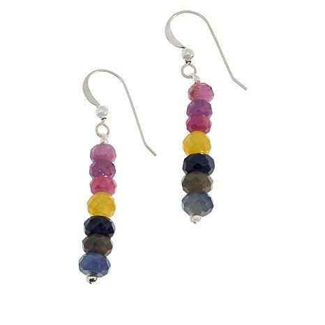 Jay King Sterling Silver Multi-Color Sapphire Bead Drop Earrings