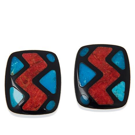 Jay King Sterling Silver Multi-Gemstone Inlay Earrings