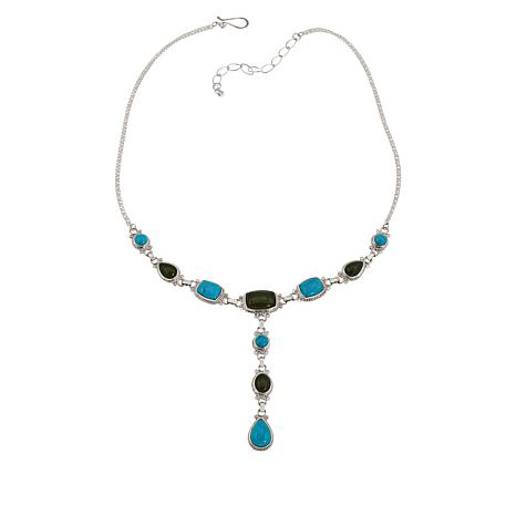 Jay King Sterling Silver Nephrite Jade and Turquoise Necklace