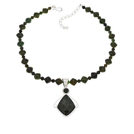 Jay King Sterling Silver Nephrite Jade Pendant with Beaded Necklace