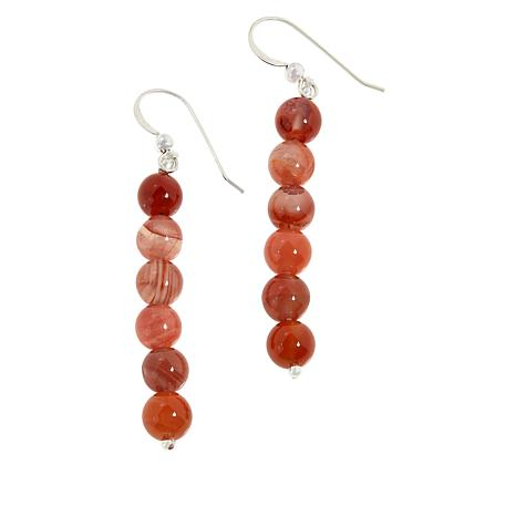 Jay King Sterling Silver Picante Agate Bead Drop Earrings