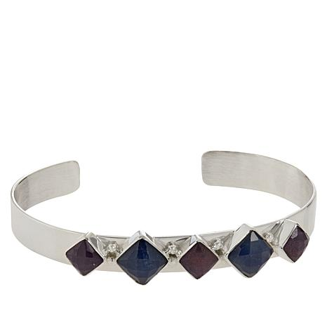 Jay King Sterling Silver Pink and Blue Sapphire Cuff Bracelet