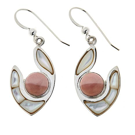 Jay King Sterling Silver Pink Opal and Mother-of-Pearl Drop Earrings