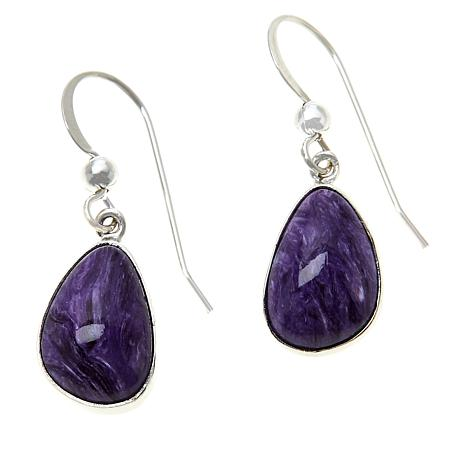 Jay King Sterling Silver Purple Charoite Freeform Drop Earrings