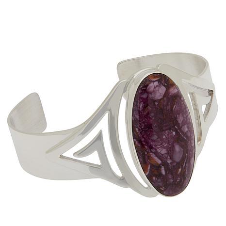 Jay King Sterling Silver Purple Spiny Oyster Shell Cuff Bracelet