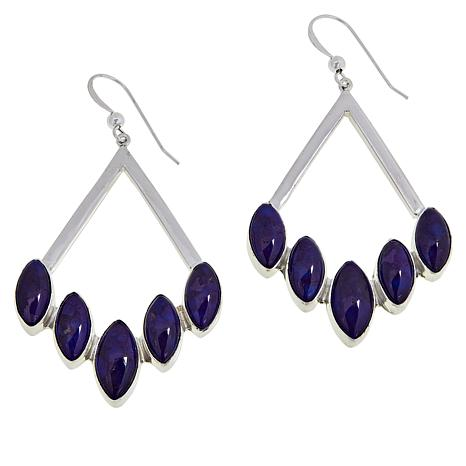 Jay King Sterling Silver Purple Turquoise Multi-Stone Drop Earrings