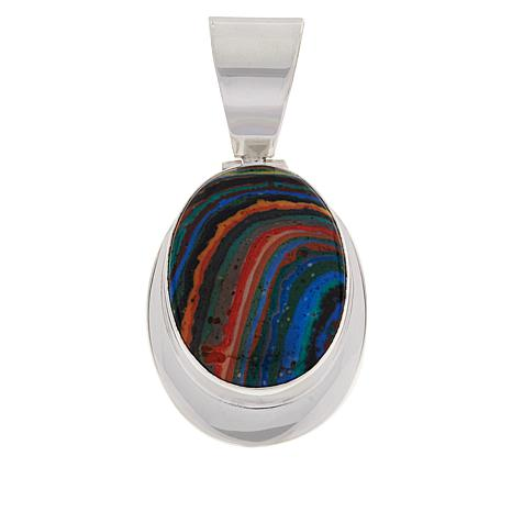 Jay King Sterling Silver Rainbow Calsilica Oval Pendant