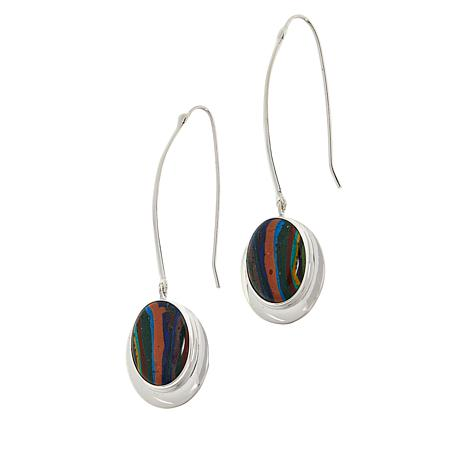 Jay King Sterling Silver Rainbow Calsilica Oval Stone Drop Earrings