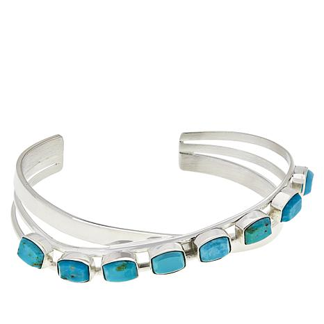 Jay King Sterling Silver Rectangular Sonoran Blue Turquoise Cuff