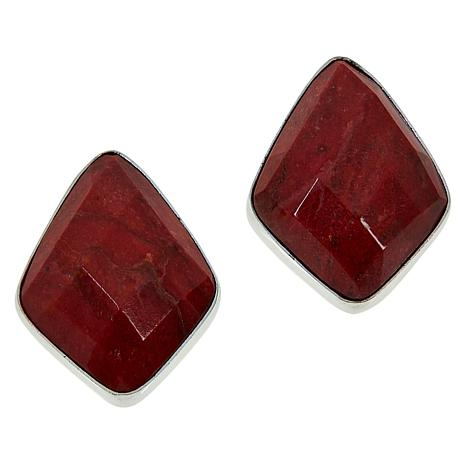 Jay King Sterling Silver Red Coral Stud Earrings