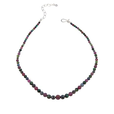 Jay King Sterling Silver Sapphire and Emerald Bead Necklace
