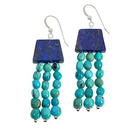 Jay King Sterling Silver Seven Peaks Turquoise and Lapis Earrings