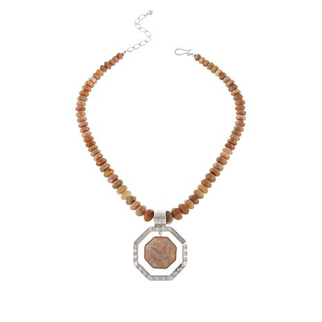Jay King Sterling Silver Sunstone Octagon Pendant with Beaded Necklace