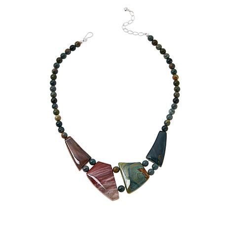 Jay King Sterling Silver Swamp Bog Stone and Petrified Wood Necklace
