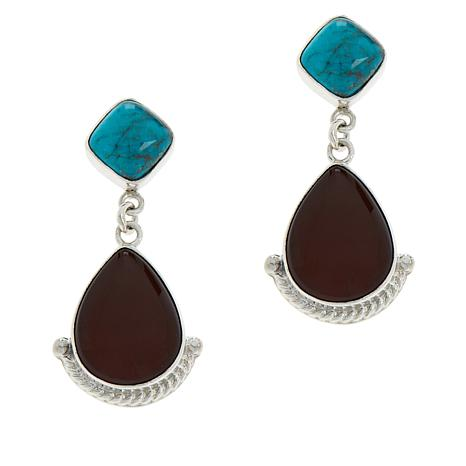 Jay King Sterling Silver Turquoise and Orange Opal Drop Earrings