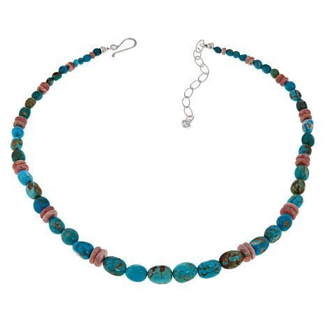 Jay King Sterling Silver Turquoise and Rhodochrosite Bead Necklace