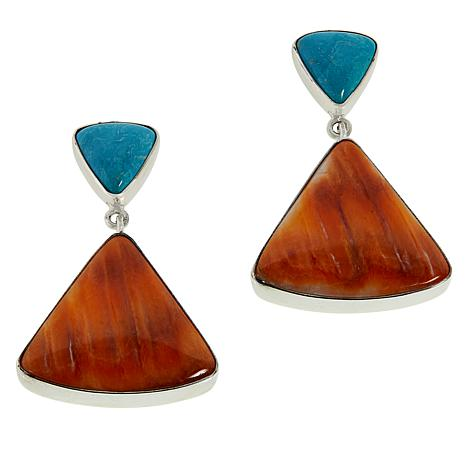 Jay King Sterling Silver Turquoise and Spiny Oyster Shell Earrings