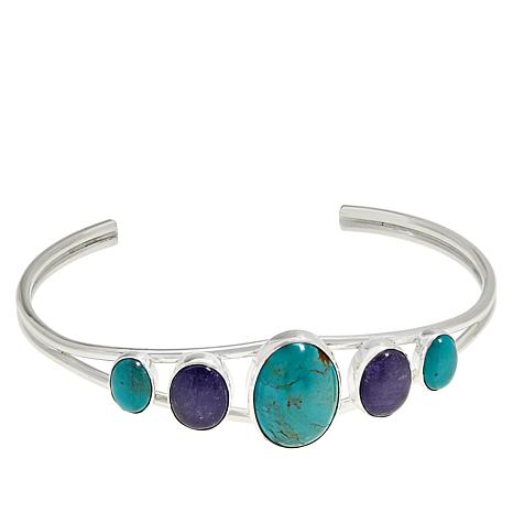 Jay King Sterling Silver Turquoise and Tanzanite Cuff Bracelet