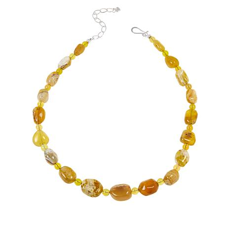 Jay King Sterling Silver Yellow Opal Bead Necklace