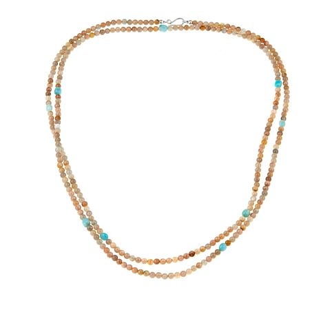 "Jay King Sunstone and Amazonite Bead 60"" Sterling Silver Necklace"