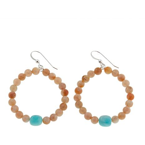 Jay King Sunstone and Amazonite Bead Drop Sterling Silver Earrings