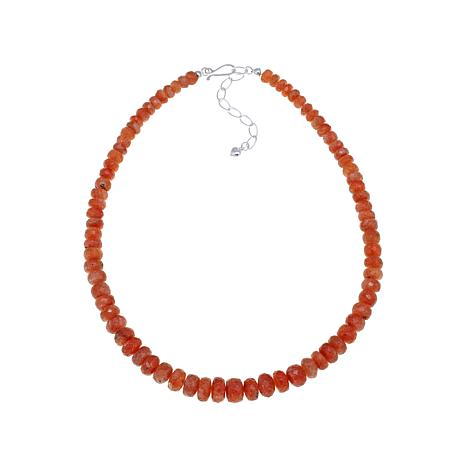 """Jay King Sunstone Bead Sterling Silver 18-1/2"""" Necklace"""