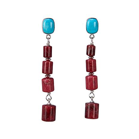 Jay King Thulite and Andean Turquoise Sterling Silver Drop Earrings