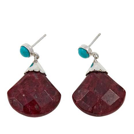 Jay King Thulite and Angel Peak Turquoise Drop Earrings
