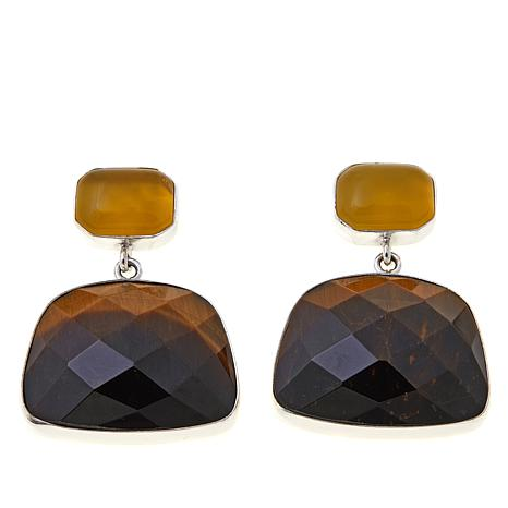Jay King Tiger's Eye and Yellow Opal Drop Earrings
