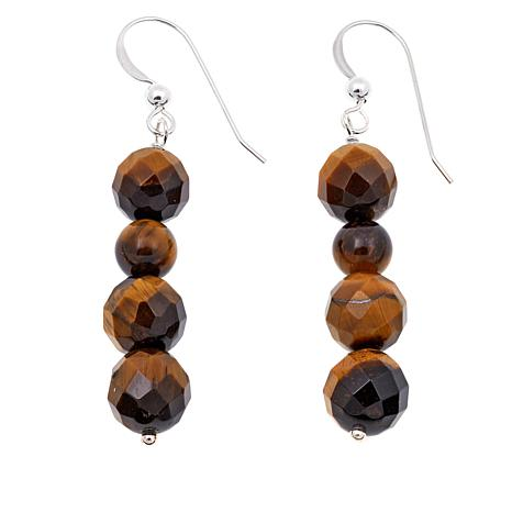 Jay King Tiger's Eye Bead Drop Sterling Silver Earrings