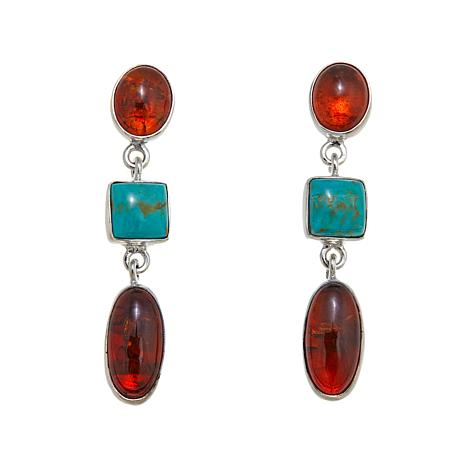 Jay King Turquoise and Amber Sterling Dangle Earrings