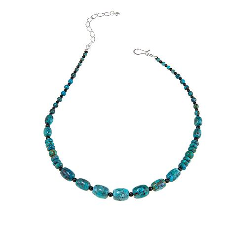 """Jay King Turquoise and Black Agate Bead 18"""" Sterling Silver Necklace"""