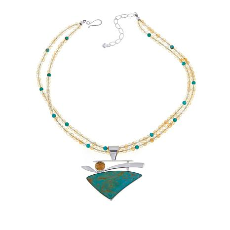 Jay King Turquoise and Citrine Pendant with Necklace